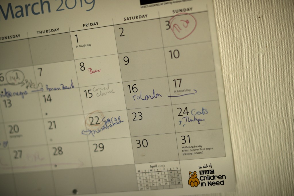 In this photo taken on Wednesday, March 13, 2019, a note in British lobbyist Brian O'Riordan's home calendar shows a planned trip to London, in Rixens