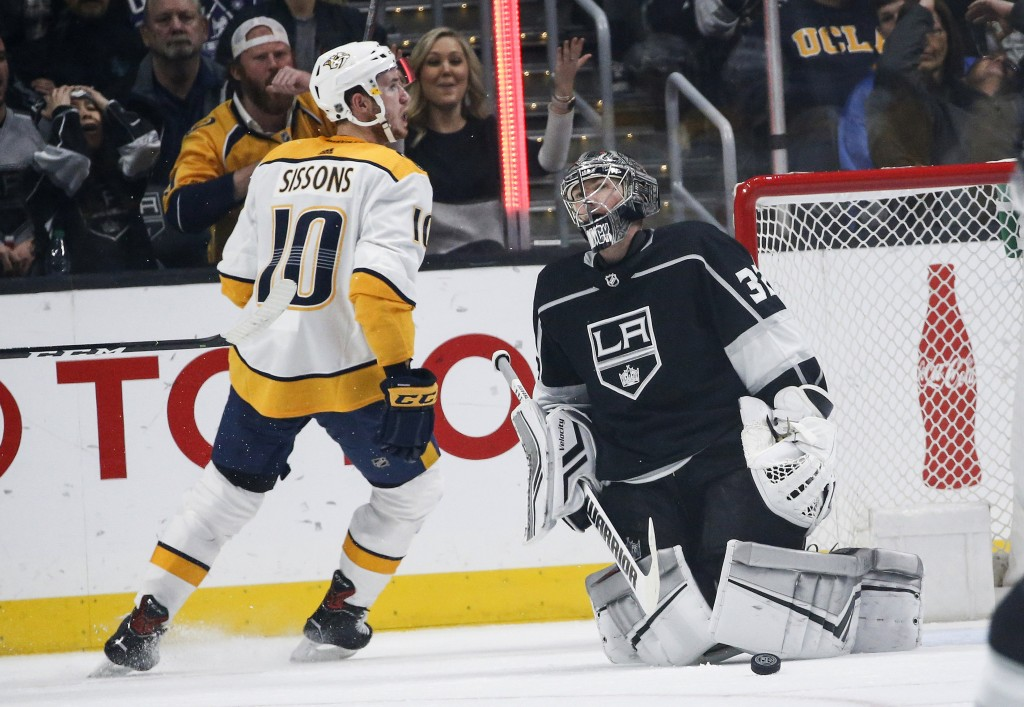 Nashville Predators forward Colton Sissons (10) celebrates after scoring on Los Angeles Kings goalie Jonathan Quick (32) during the second period of a