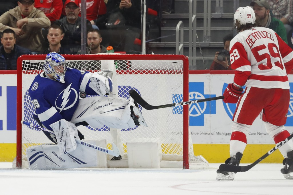 Tampa Bay Lightning goaltender Andrei Vasilevskiy (88) stops a Detroit Red Wings left wing Tyler Bertuzzi (59) shot in the third period of an NHL hock