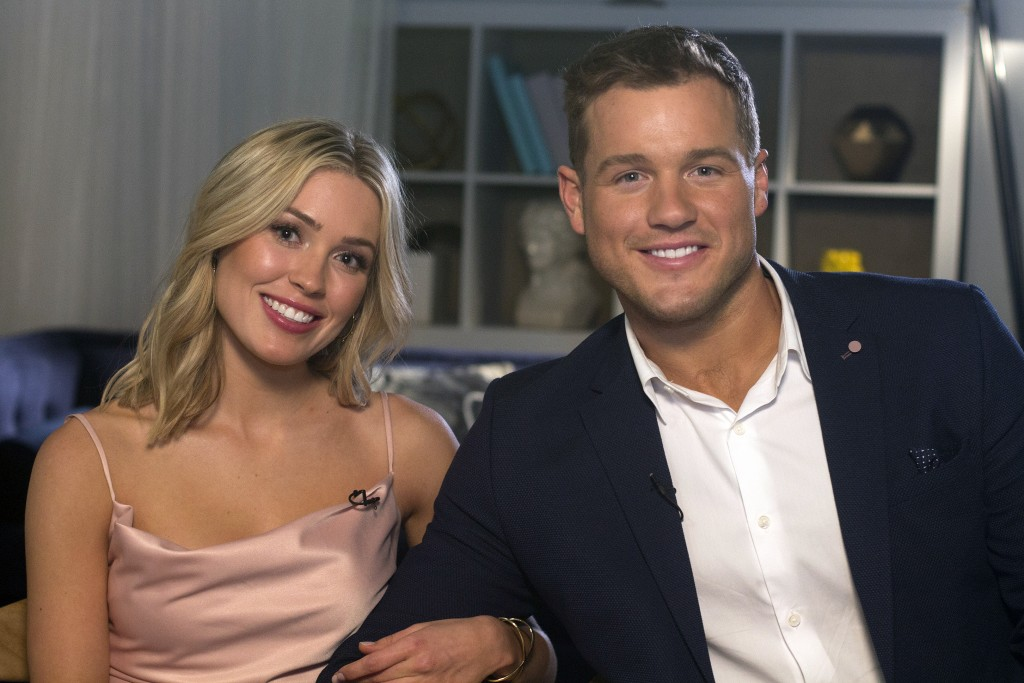 "Cast members Cassie Randolph, left, and Colton Underwood from the reality series, ""The Bachelor,"" appear during an interview in New York on Wednesday,"