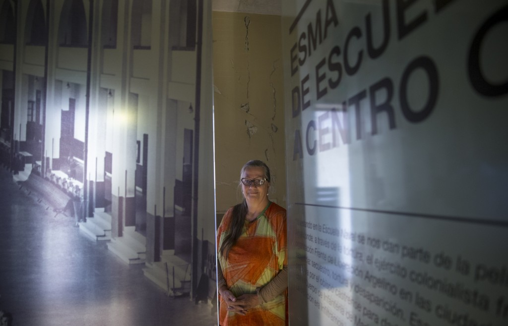 Ana Testa, who survived torture during Argentina's 1976-1983 dictatorship, poses for a portrait where she was detained at the Naval Mechanics School,