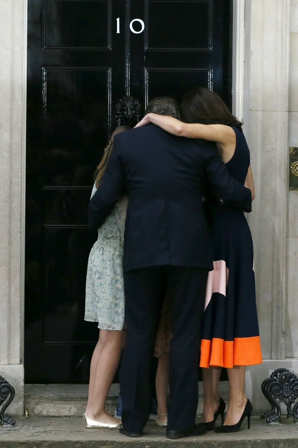 FILE - In this Wednesday, July 13, 2016 file photo Britain's Prime Minister David Cameron, his wife Samantha and their children Nancy, Elwen and Flore