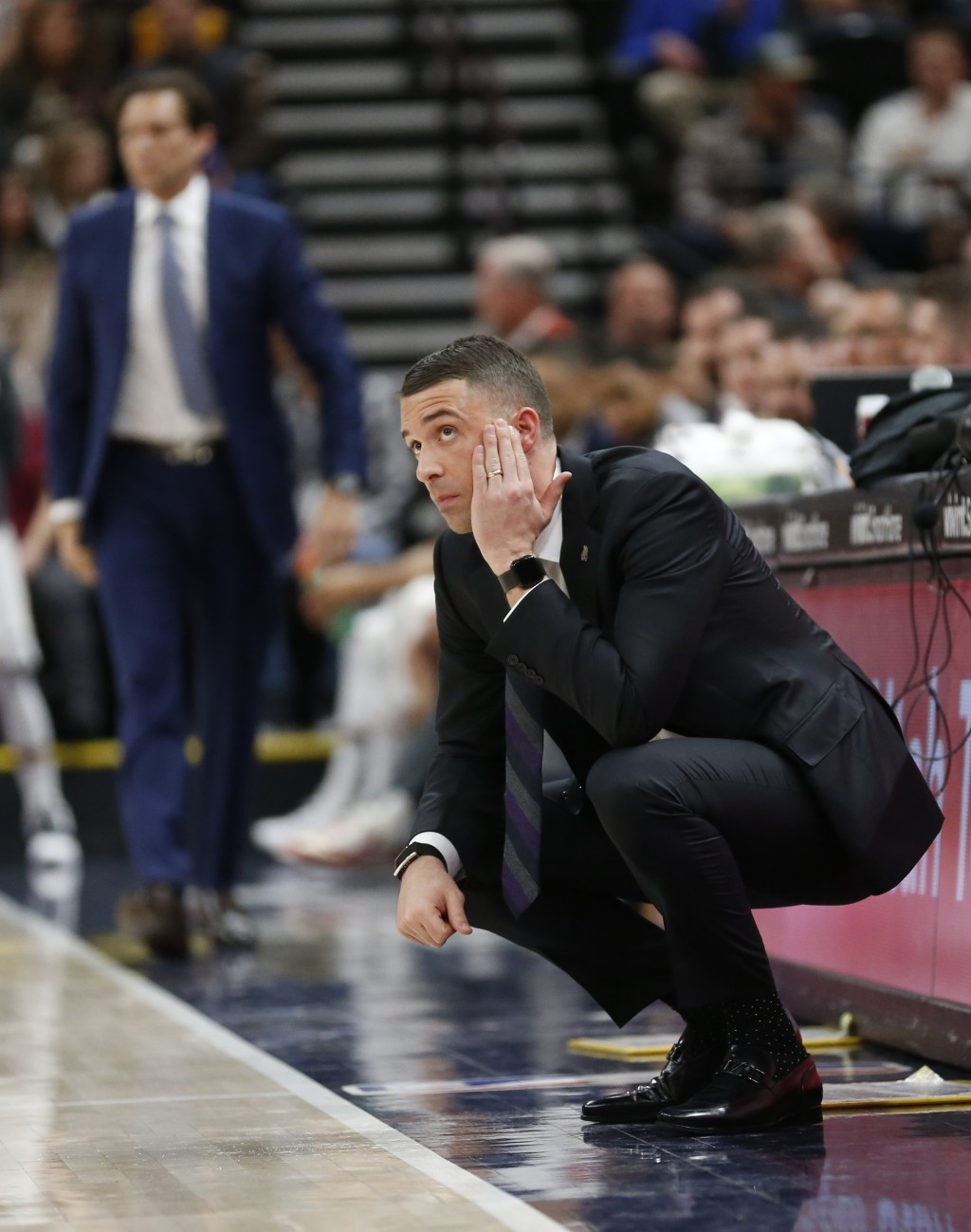 Minnesota Timberwolves head coach Ryan Saunders looks on in the first half during an NBA basketball game against the Utah Jazz, Thursday, March 14, 20