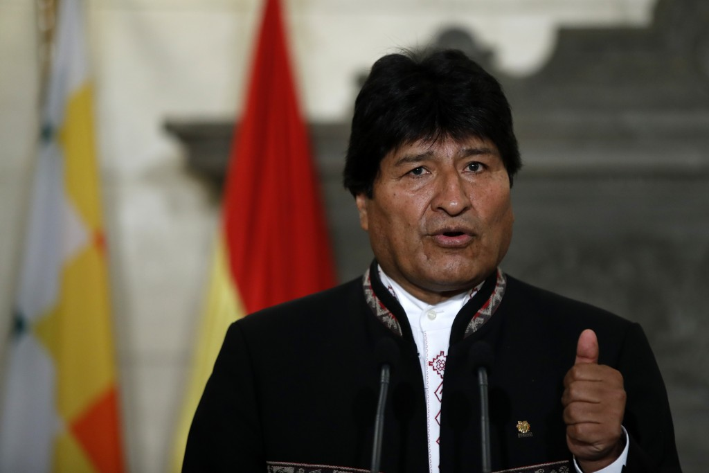 Bolivia's President Evo Morales speaks during a press conference with Greece's Prime Minister Alexis Tsipras  at Maximos Mansion in Athens, Friday, Ma
