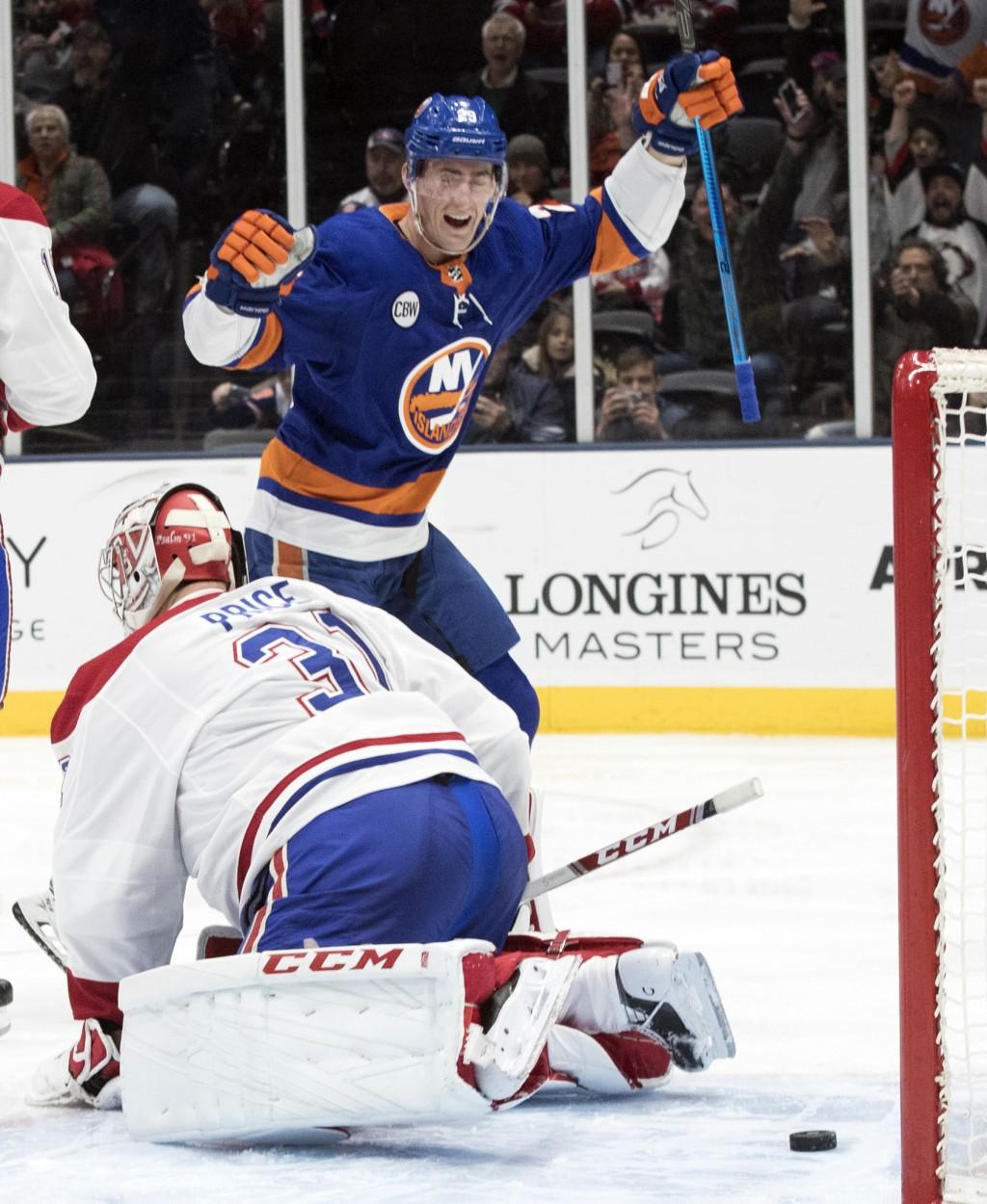 New York Islanders center Brock Nelson (29) reacts after defenseman Adam Pelech (not shown) scored a goal past Montreal Canadiens goaltender Carey Pri