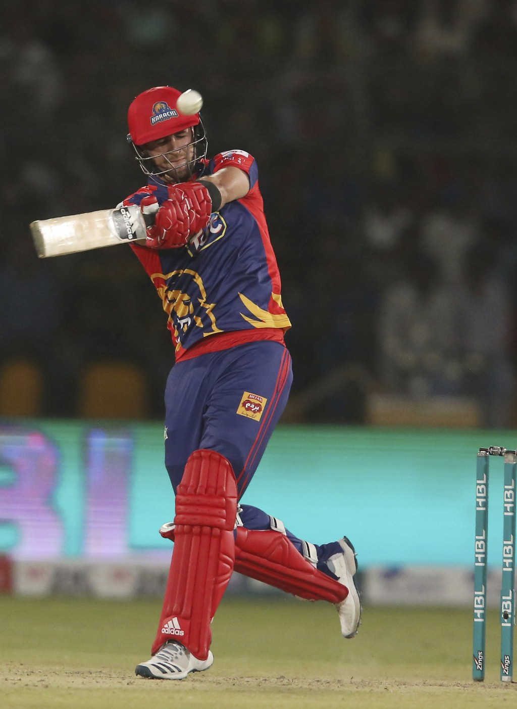 Liam Livingstone of Karachi Kings hits a boundary against Islamabad United, in the Pakistan Super League playoff at National Stadium in Karachi, Pakis