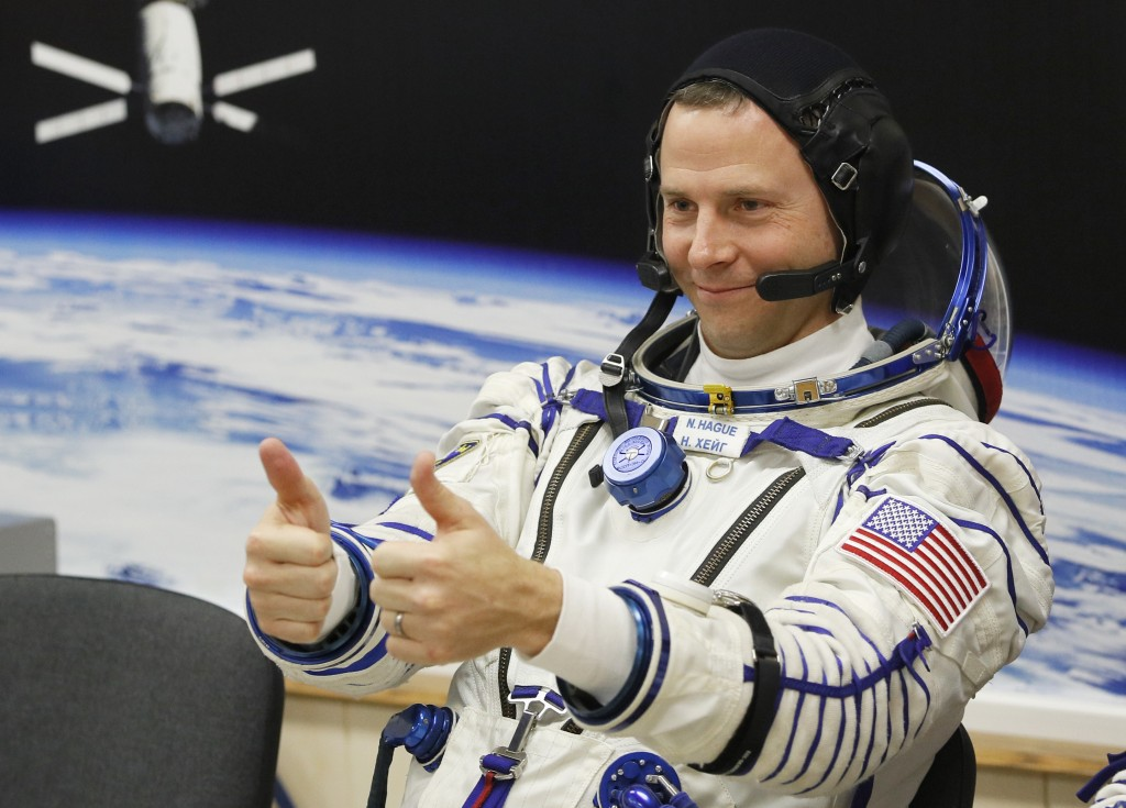 U.S. astronaut Nick Hague Russian, member of the main crew of the expedition to the International Space Station (ISS), gestures prior the launch of So