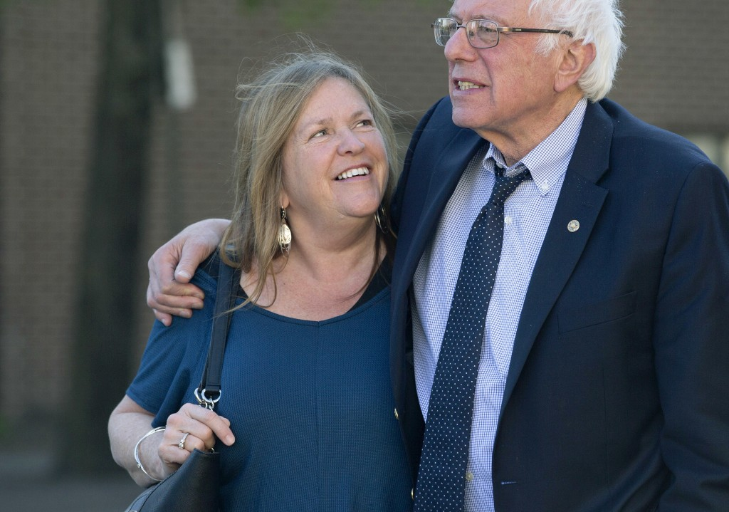 FILE - In this April 19, 2016, file photo, Democratic presidential candidate Sen. Bernie Sanders, I-Vt., and his wife Jane take a walk in State Colleg