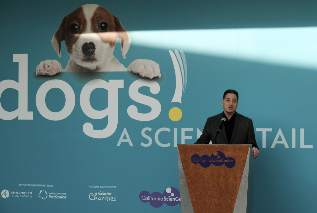 """In this Tuesday, March 12, 2019 photo Jeffrey Rudolph President of the California Science Center announces a new exhibition called """"Dogs! A Science Ta"""