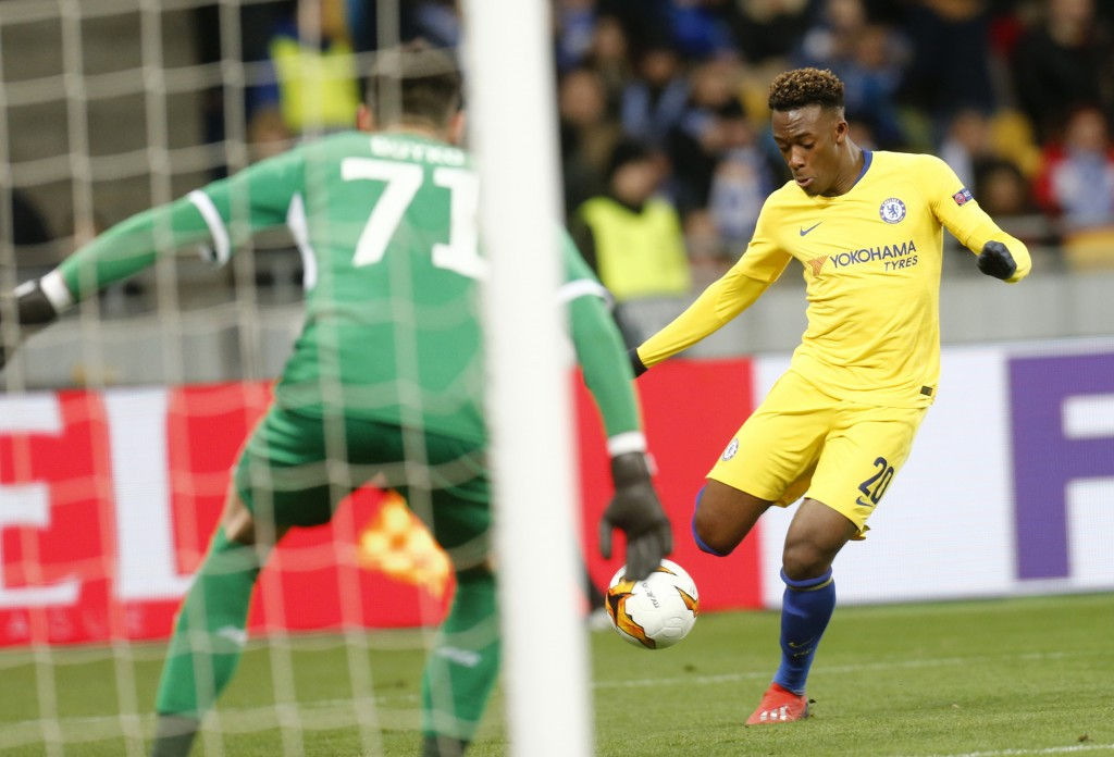 Chelsea's Davide Hudson-Odoi scores his side's fifth goal during the Europa League round of 16, second leg soccer match between Dynamo Kiev and Chelse