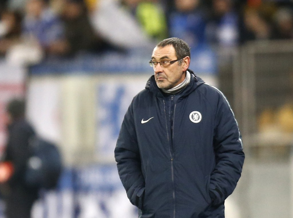 Chelsea manager Maurizio Sarri stands on the touchline during the Europa League round of 16, second leg soccer match between Dynamo Kiev and Chelsea a