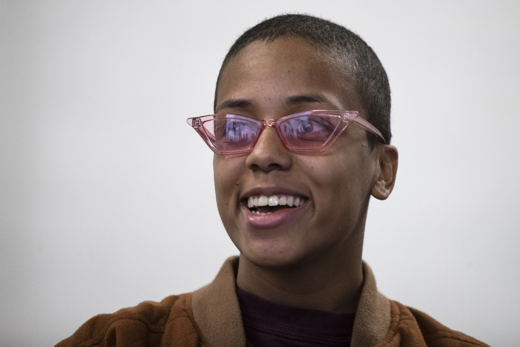 In this Feb. 20, 2019 photo Virlen Reyes speaks during an interview with The Associated Press at her studio in Philadelphia. Reyes become Snider Hocke