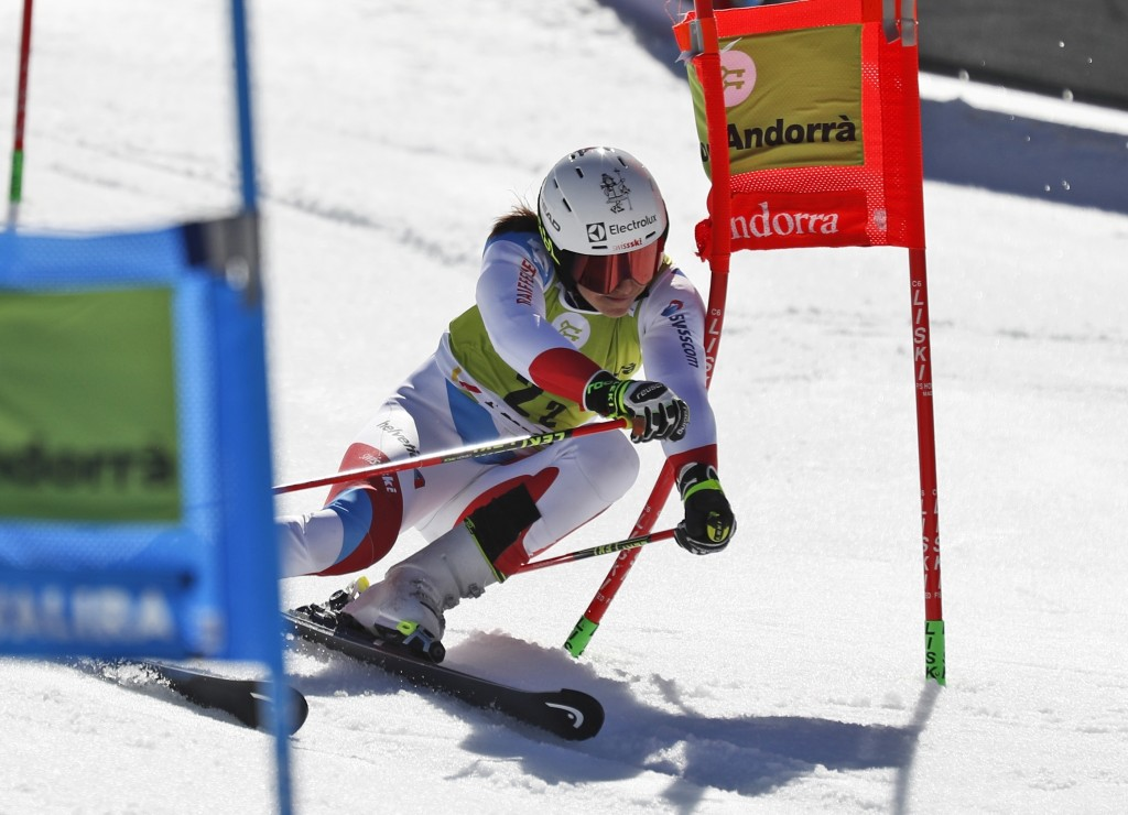 Switzerland's Wendy Holdener competes during an alpine ski, World Cup team event, in Soldeu, Andorra, Friday, March 15, 2019. (AP Photo/Gabriele Facci