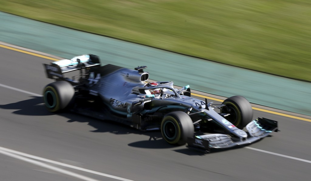 Mercedes driver Lewis Hamilton of Britain goes through turn 2 during the second practice session of the Australian Grand Prix in Melbourne, Australia,