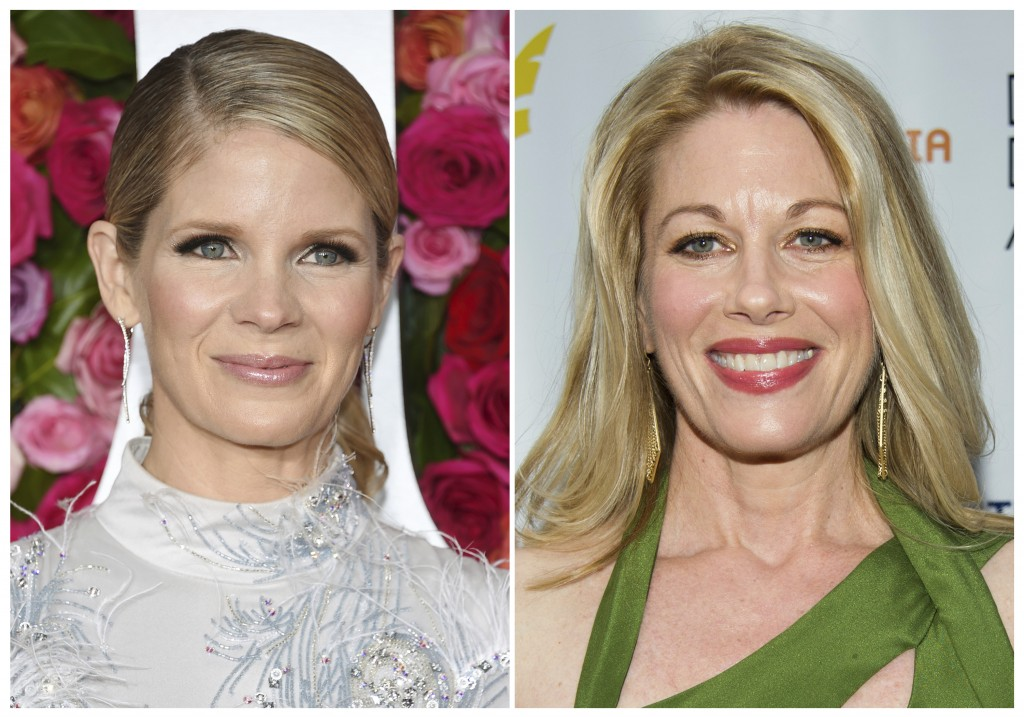 This combination photo shows Broadway actresses Kelli O'Hara at the Tony Awards in New York on June 10, 2018, left, and Marin Mazzie at the Drama Desk
