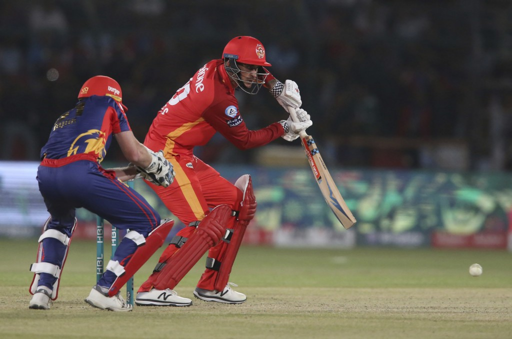 Alex Hales of Islamabad United hits during a match against Karachi Kings, in the Pakistan Super League playoff at National Stadium in Karachi, Pakista