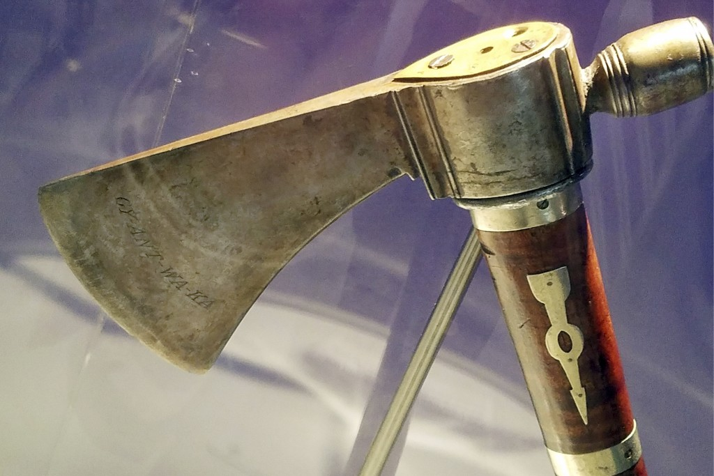 This photo March 15, 2019, photo provided by Seneca-Iroquois National Museum in New York shows a long-missing peace pipe tomahawk President George Was