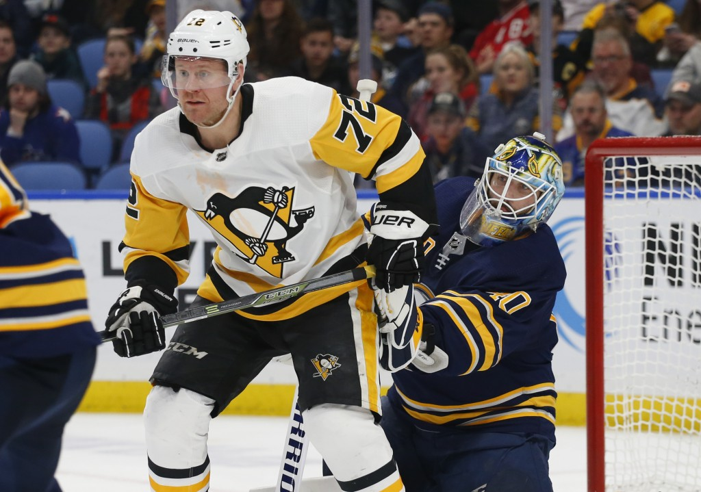 Buffalo Sabres goalie Carter Hutton (40) is screened by Pittsburgh Penguins forward Patric Hornqvist (72) during the second period of an NHL hockey ga
