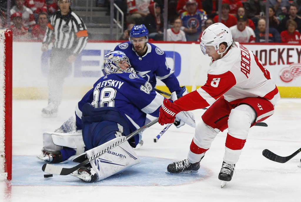 Detroit Red Wings left wing Justin Abdelkader (8) scores on Tampa Bay Lightning goaltender Andrei Vasilevskiy (88) in the second period of an NHL hock