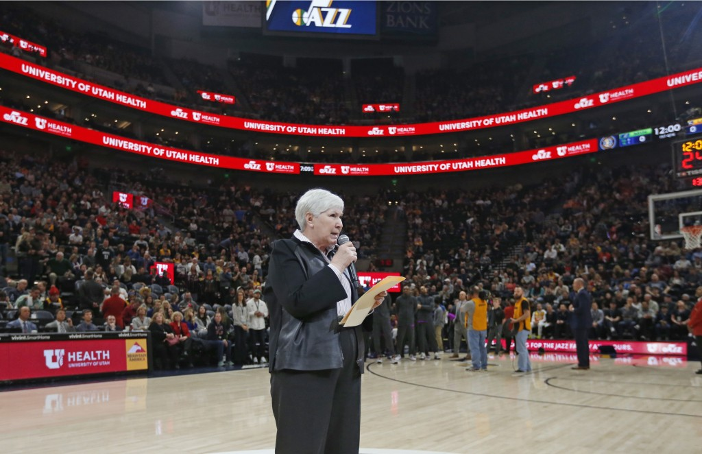 Gail Miller, owner and chairwoman of the Utah Jazz, addresses the crowd before an NBA basketball game against the Minnesota Timberwolves, Thursday, Ma