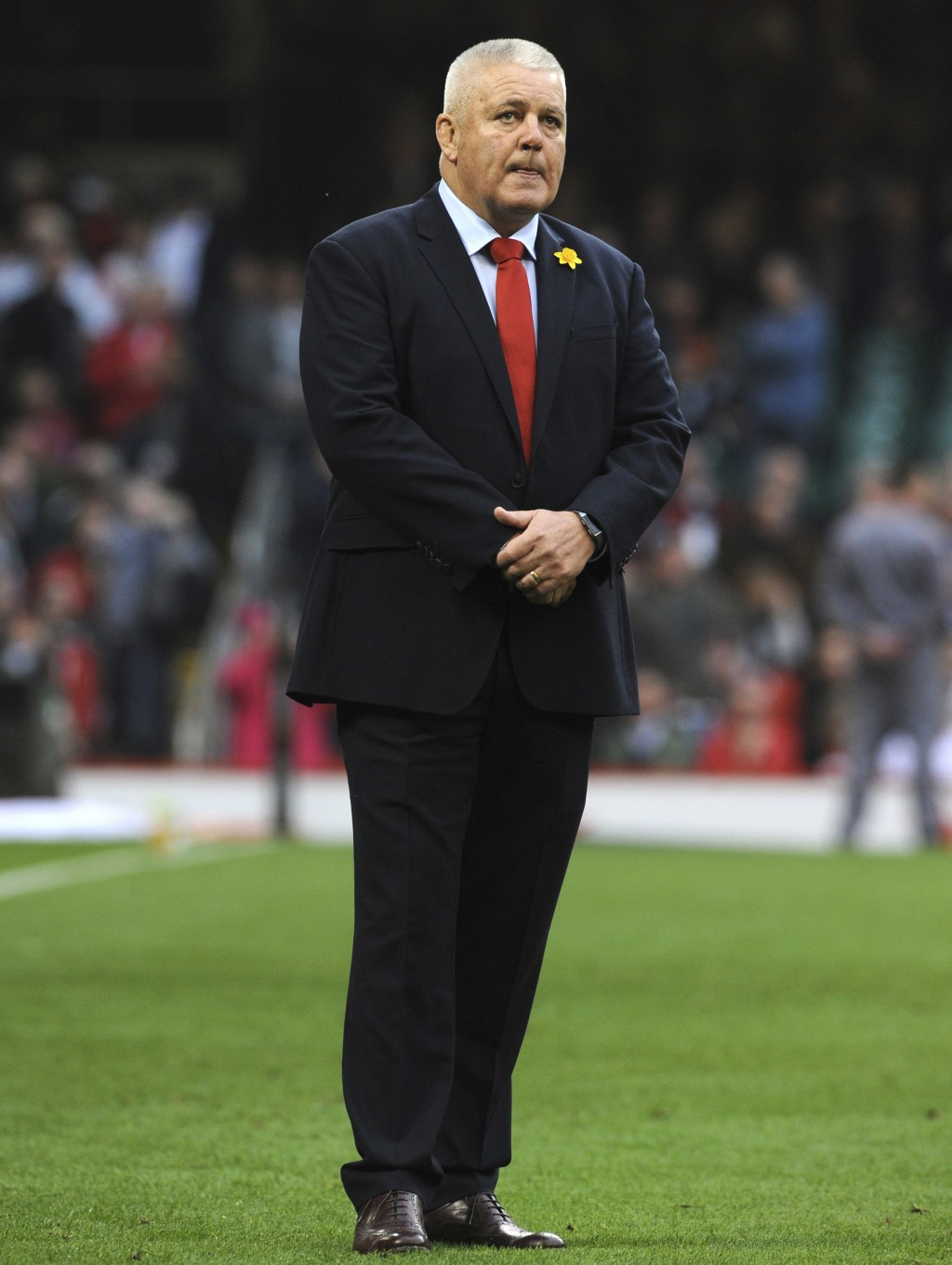 FILE - In this file photo dated Saturday, Feb. 23, 2019, Wales head coach Warren Gatland watches his players ahead of their Six Nations rugby union in