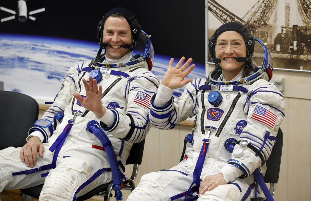 U.S. astronauts Christina Hammock Koch, right, and Nick Hague, members of the main crew of the expedition to the International Space Station (ISS), wa