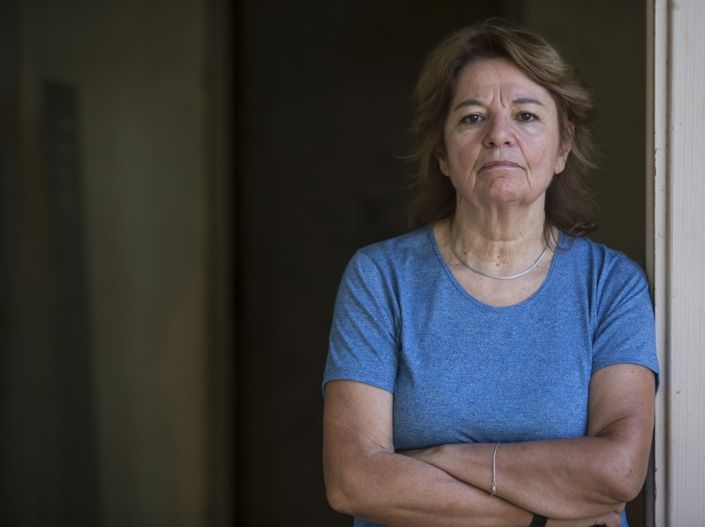 Graciela Garcia, who was turned into a sex slave when she was in her 20's by a former navy captain during Argentina's 1976-1983 dictatorship, poses fo