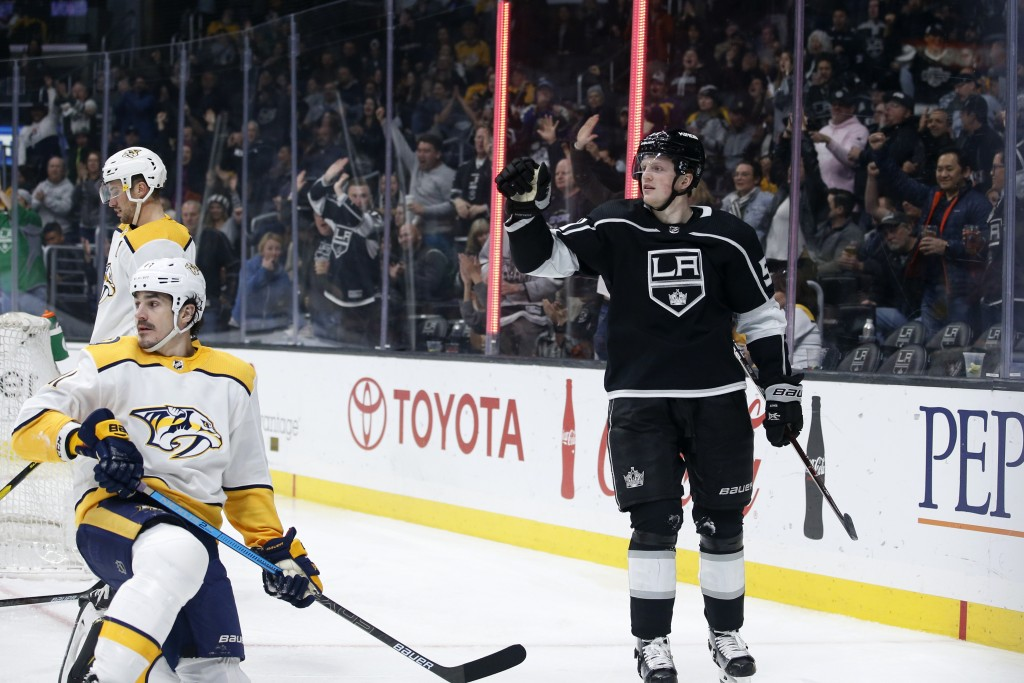 Los Angeles Kings forward Austin Wagner (51) celebrates his goal against the Nashville Predators during the second period of an NHL hockey game Thursd