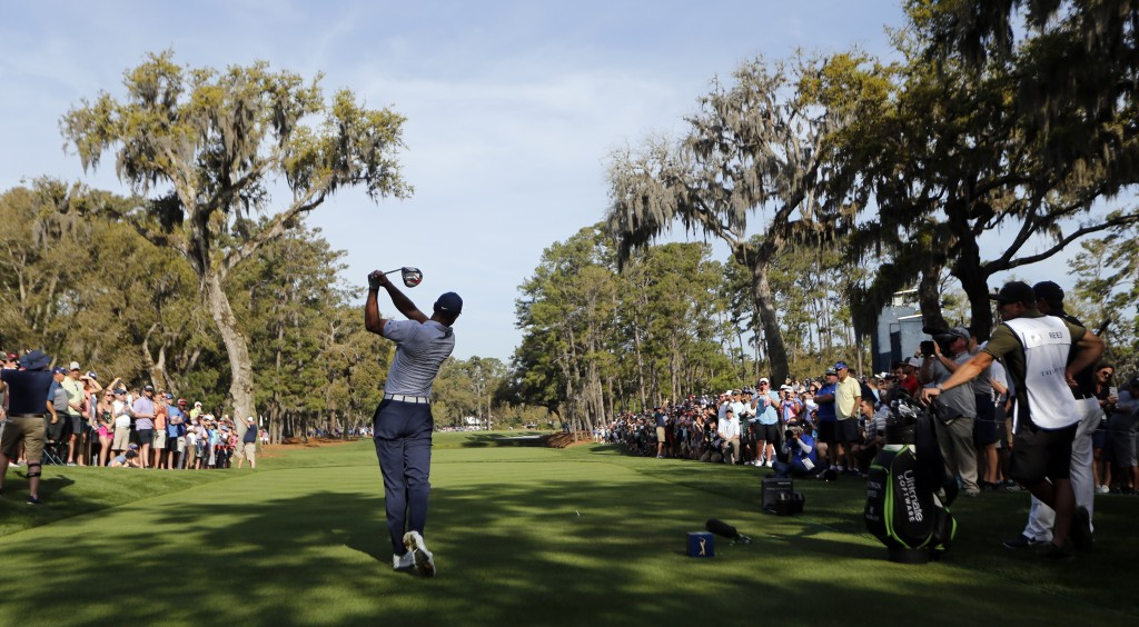 Tiger Woods hits his drive on the 15th hole during the second round of The Players Championship golf tournament Friday, March 15, 2019, in Ponte Vedra...