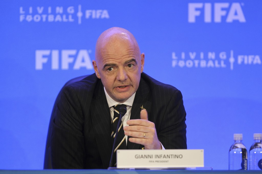 FIFA President Gianni Infantino talks during a press conference after a FIFA Council Meeting, Friday, March 15, 2019, in Miami. The council approved w
