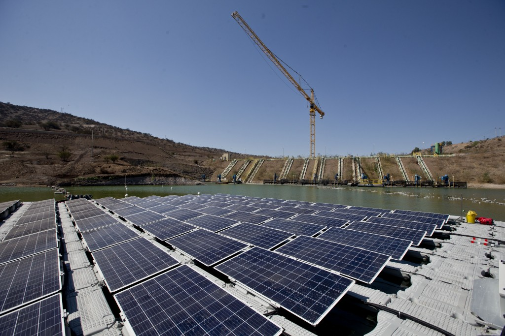 An island of solar panels floats in a pond at the Los Bronces mining plant, about 65 kilometers (approximately 40 miles) from Santiago, Chile, Thursda