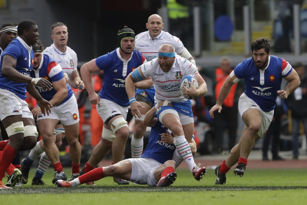 Italy's Leonardo Ghiraldini runs with the ball during the Six Nations rugby union international match between Italy and France, at the Rome Olympic st