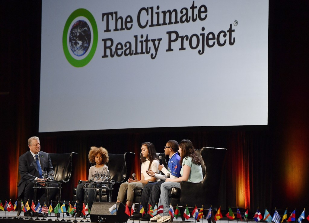 Former U.S. Vice President Al Gore, founder of the Climate Reality Project, speaks with youth climate activists durung a panel discussion on global cl