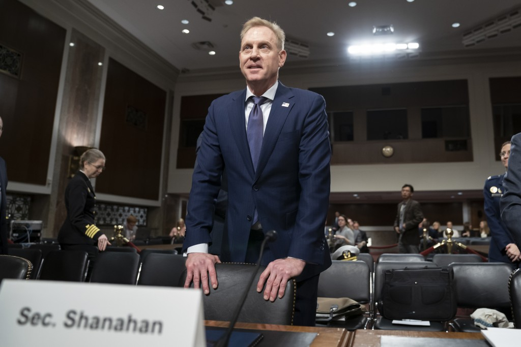 In this March 14, 2019, photo, acting Defense Secretary Patrick Shanahan goes before the Senate Armed Services Committee to discuss the Department of