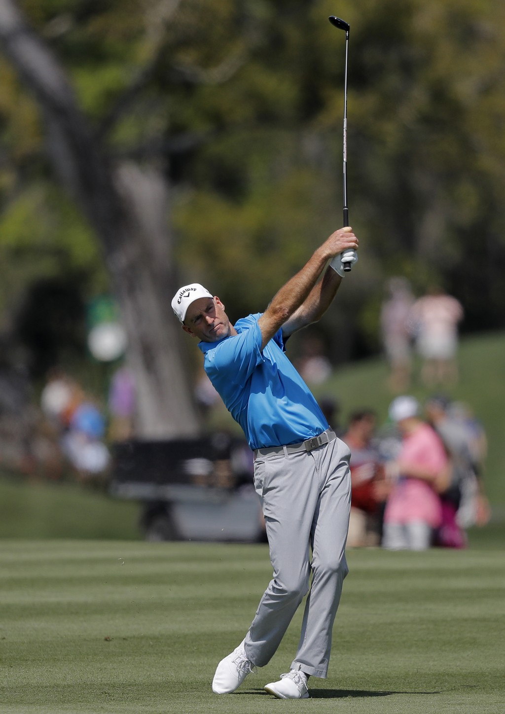 Jim Furyk hits his second shot off the 16th fairway during the second round of The Players Championship golf tournament Friday, March 15, 2019, in Pon