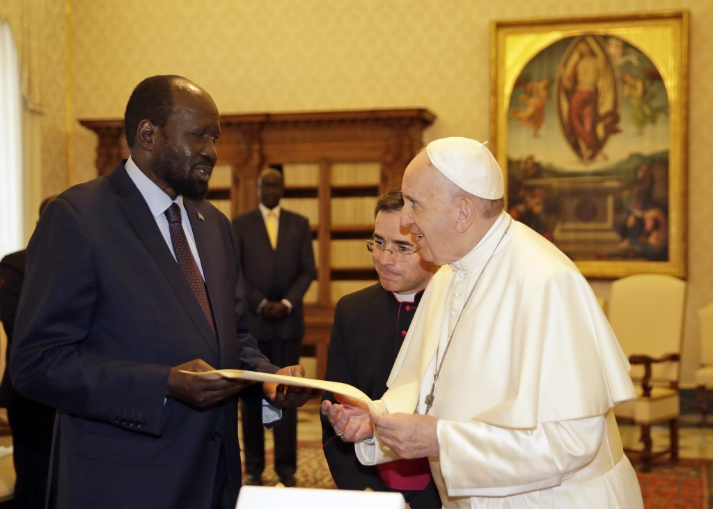 Pope Francis exchange gifts with South Sudan President Salva Kiir Mayardit during a private audience at the Vatican, Saturday, March 16, 2019. (AP Pho