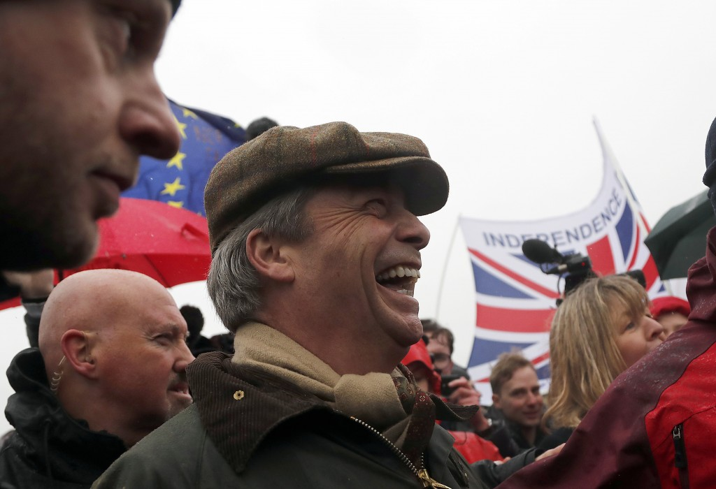 Former UKIP party leader Nigel Farage joins the start of the first leg of March to Leave the European Union in Sunderland England Saturday March 1