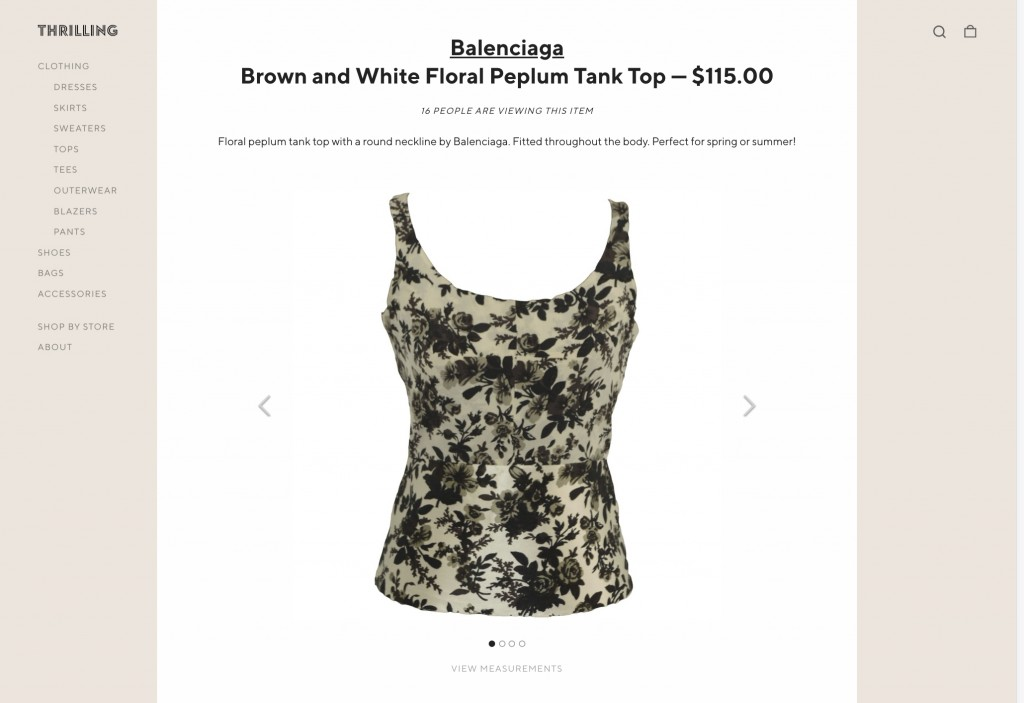 CORRECTS SITE TO SHOPTHRILLING.COM - This image released by Thrilling shows a floral tank top by Balenciaga, part of a collection offered on the e-com