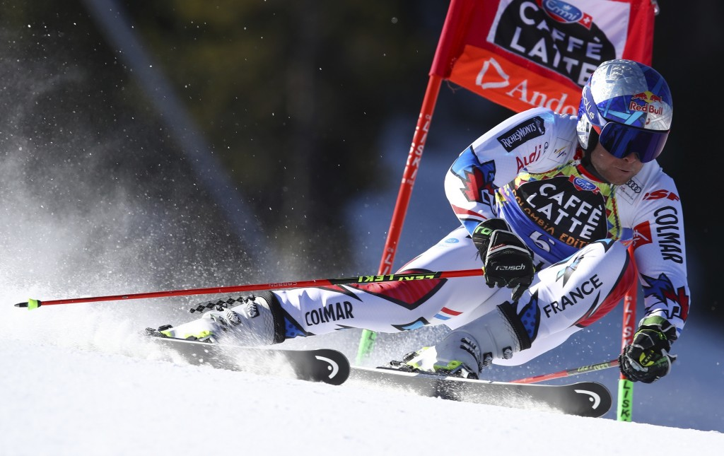 France's Alexis Pinturault speeds down the course during an alpine ski, men's giant slalom, at the alpine ski, World Cup finals in Soldeu, Andorra, Sa