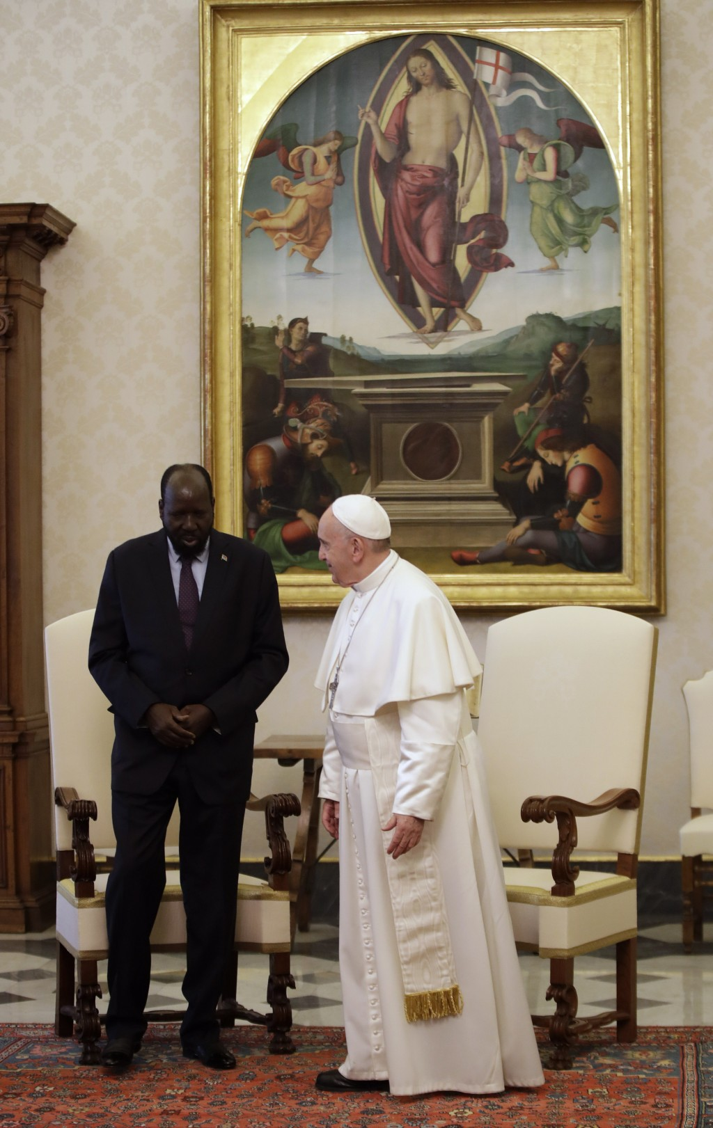 Pope Francis meets South Sudan President Salva Kiir Mayardit during a private audience at the Vatican, Saturday, March 16, 2019. (AP Photo/Alessandra