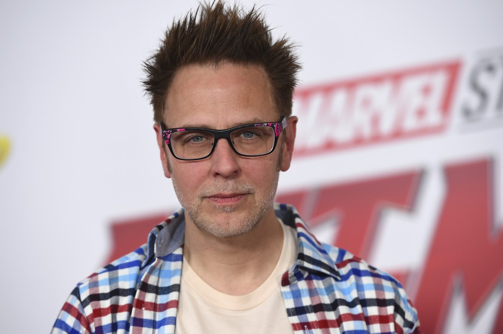 "FILE - This June 25, 2018 file photo shows James Gunn at the premiere of ""Ant-Man and the Wasp"" in Los Angeles. Months after being fired over old twee"