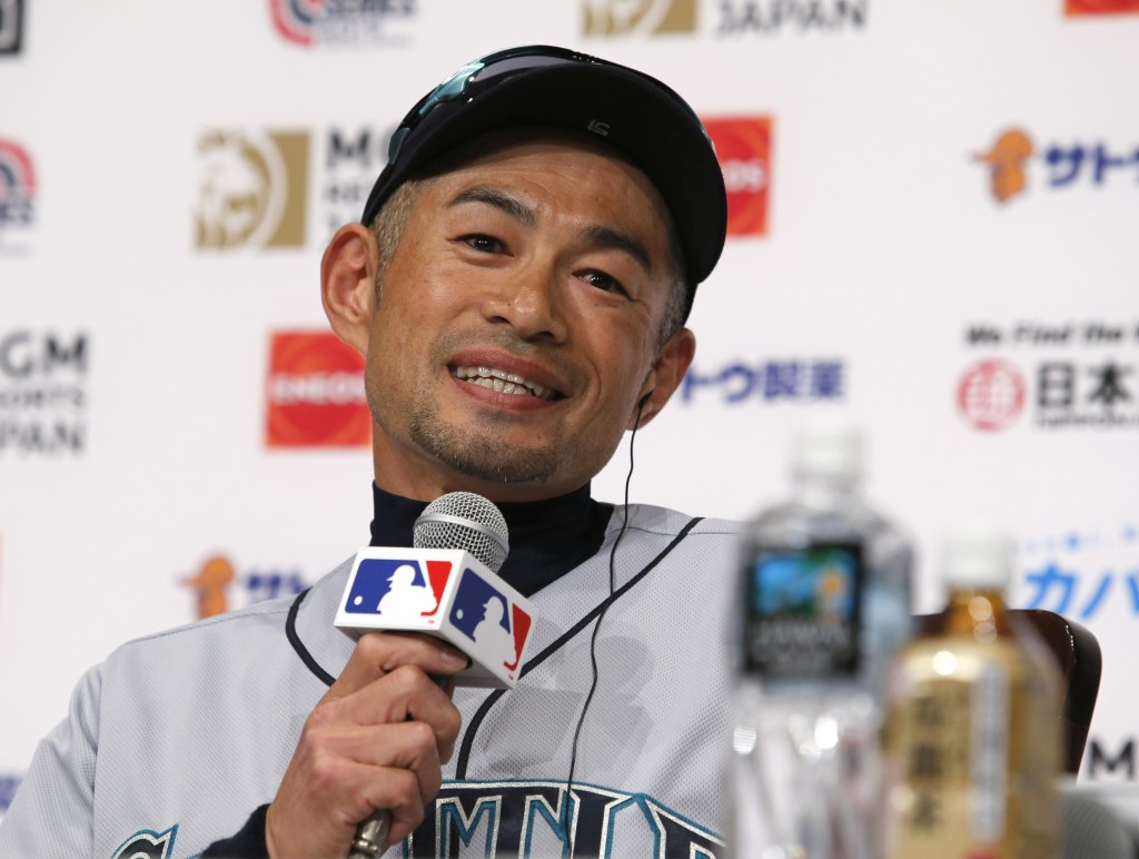 Seattle Mariners' Ichiro Suzuki speaks during a press conference in Tokyo Saturday, March 16, 2019. Ichiro is back in his native Japan and enjoying it
