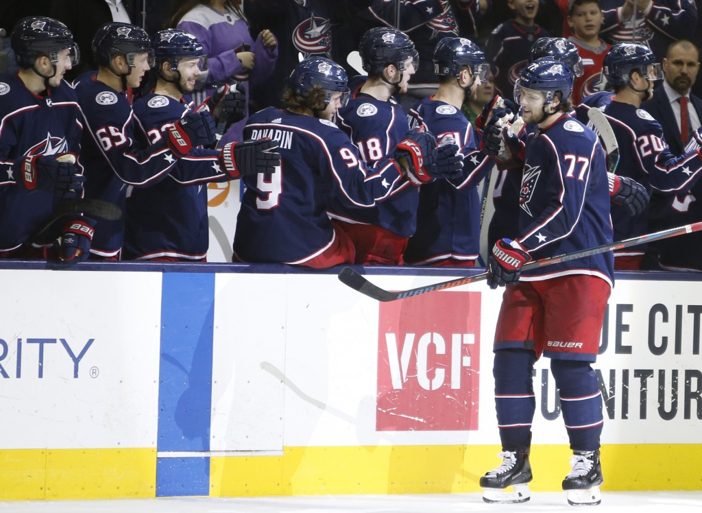 Columbus Blue Jackets' Josh Anderson celebrates his goal against the Carolina Hurricanes during the third period of an NHL hockey game Friday, March 1