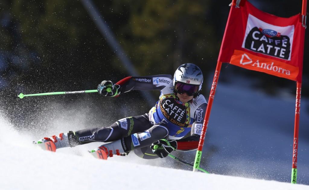 Norway's Henrik Kristoffersen speeds down the course during an alpine ski, men's giant slalom, at the alpine ski, World Cup finals in Soldeu, Andorra,
