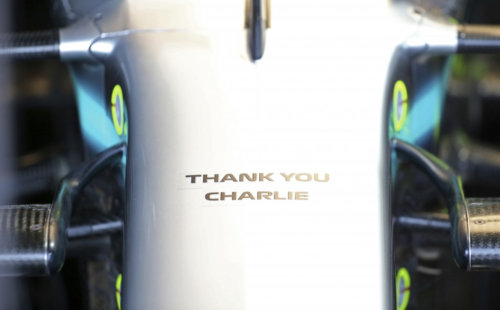 A tribute to Charlie Whiting, the former FIA Formula One Race Director who recently passed away, is on the front of Mercedes driver Lewis Hamilton's c
