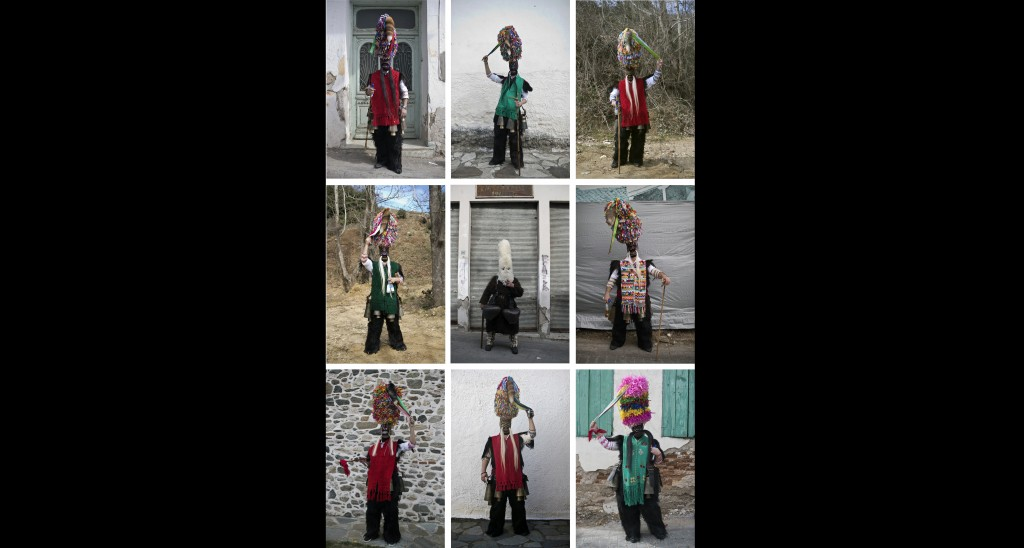 In this Monday March 11, 2019 photo combination, men wearing masks that include a meter- tall, ribbon-covered formation topped with a foxtail pose for