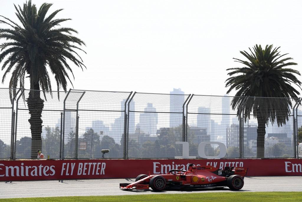Ferrari driver Sebastian Vettel of Germany goes through turn 10 during the final practice session for the Australian Grand Prix in Melbourne, Australi
