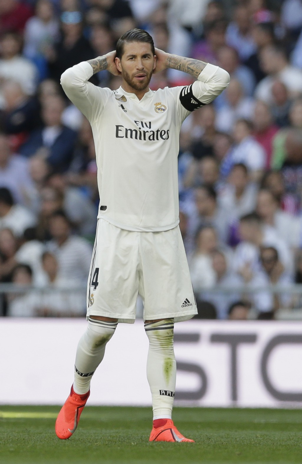 Real Madrid's Sergio Ramos gestures during a Spanish La Liga soccer match between Real Madrid and Celta at the Santiago Bernabeu stadium in Madrid, Sp