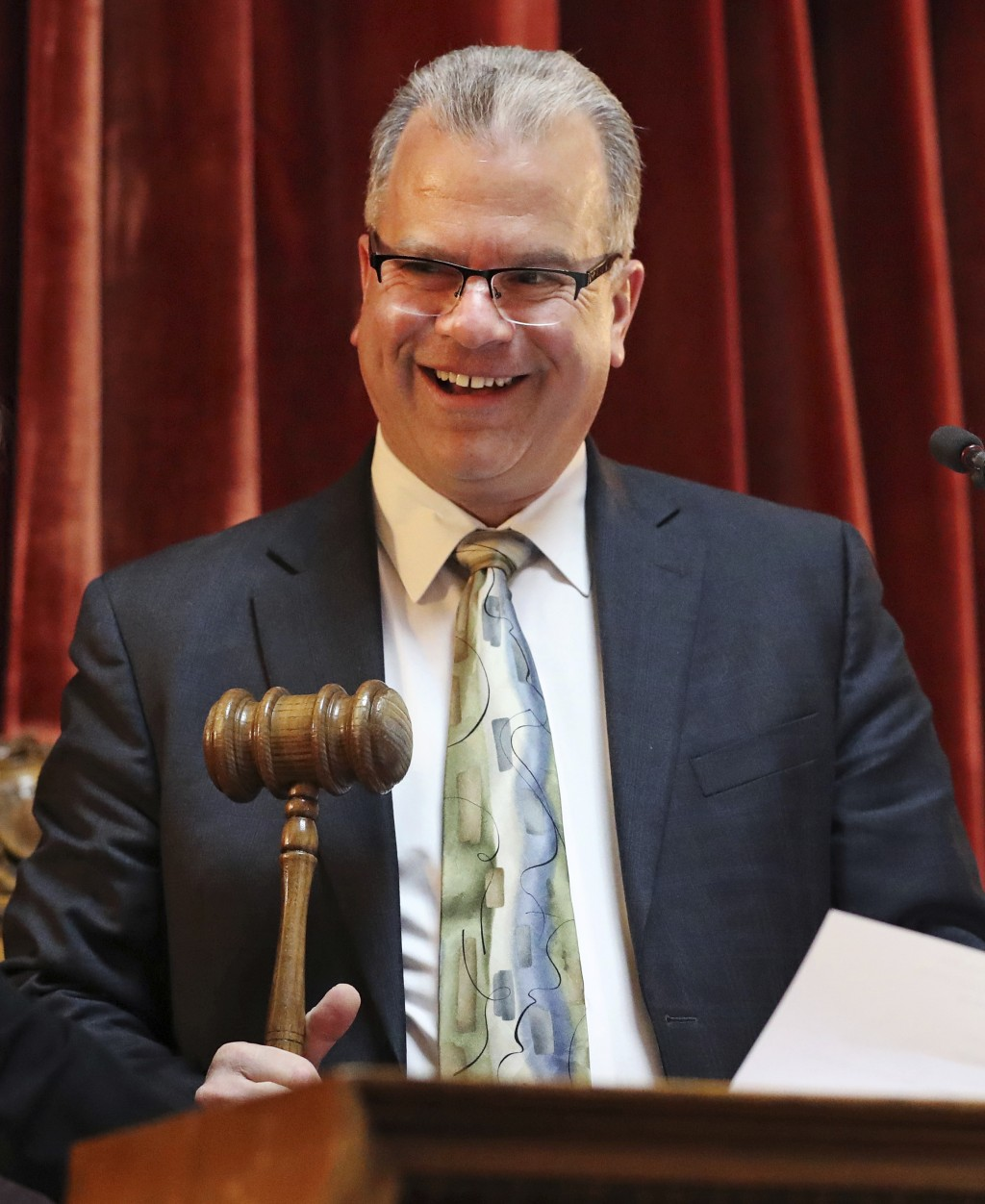 FILE- In this March 12, 2019, file photo Rhode Island Speaker of the House Nicholas Mattiello gavels open a late afternoon session on gaming at the St