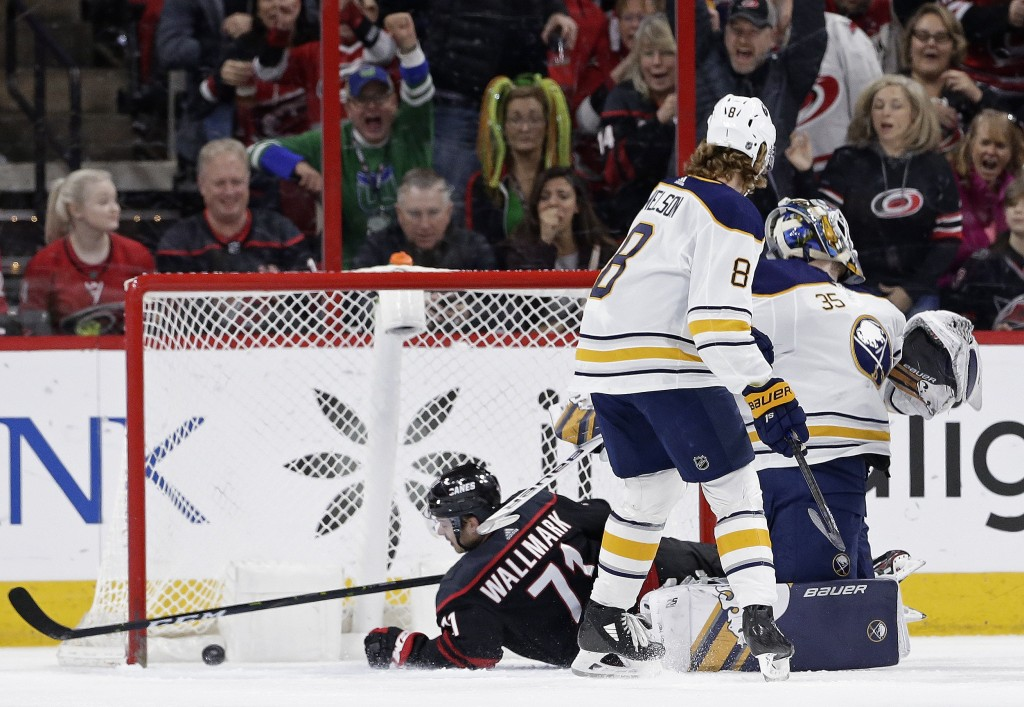 Carolina Hurricanes' Lucas Wallmark (71), of Sweden, scores against Buffalo Sabres goalie Linus Ullmark (35), of Sweden, during the first period of an